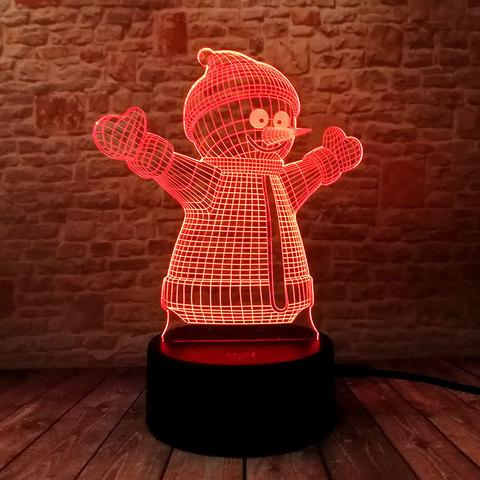 Светильник 3D Снеговик