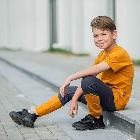 Color Block leggings for teens - Graphite/Amber Yellow