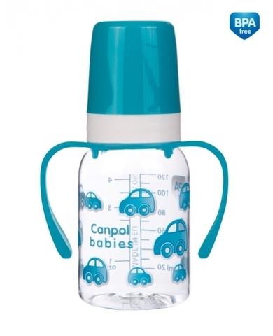 Бутылочка тритановая  (BPA 0%) (11/821) с ручками с сил. соской, 120 мл. 3+ (бирюзовый)