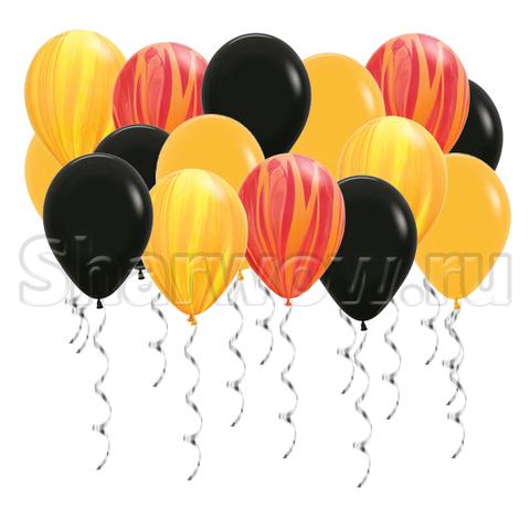 Воздушные шары под потолок Яркое ассорти с агатами - желтый, оранжевый, красный, черный