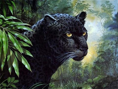 Алмазная Мозаика 30x40 Черная пантера (Арт. MТС73245 )