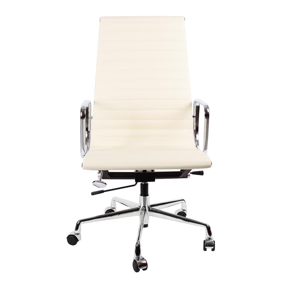 Кресло Eames Style HB Ribbed Office Chair EA 119 кремовая кожа - вид 2