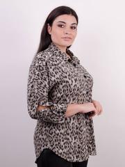 Магда. Стильна жіноча сорочка великих розмірів. Леопард сірий.