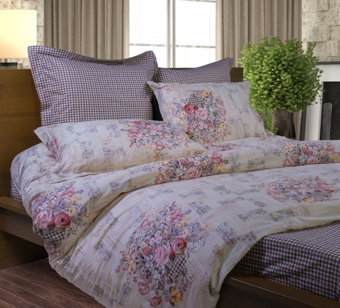 Сатиновое постельное бельё  2 спальное  В-125