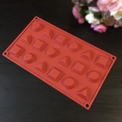 Силиконовая форма для шоколада ГЕОМЕТРИЧЕСКИЕ ФИГУРЫ 18в1 (35х35мм)