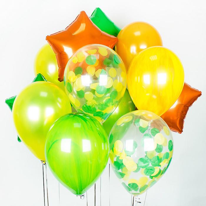Воздушные шары желтый оранжевый зеленый фольга звезды конфетти супер агаты купить в Перми