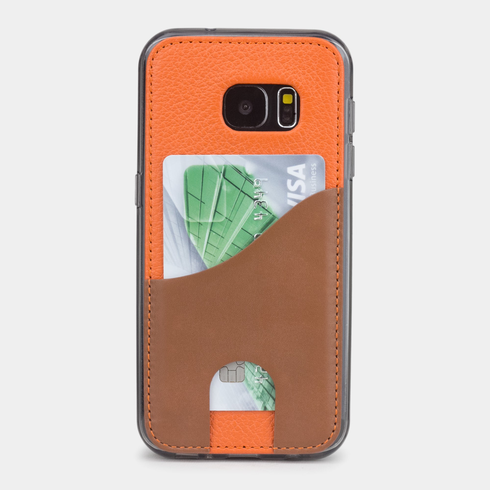 Чехол-накладка Andre для Samsung S7 из натуральной кожи теленка, оранжевого цвета