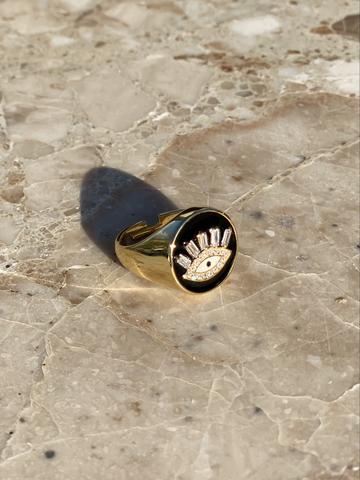 Кольцо-печатка Глаз из позолоченного серебра с черной эмалью