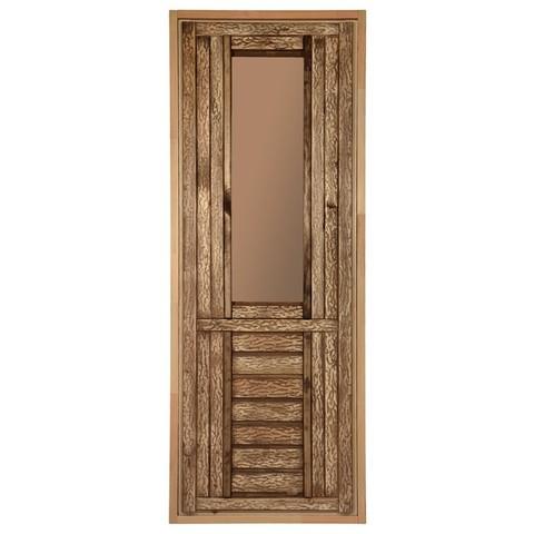 Дверь состаренная со стеклом (тонированное