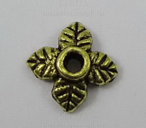 """Шапочка для бусины """"Листики"""" (цвет - античное золото) 8х2 мм, 10 штук"""