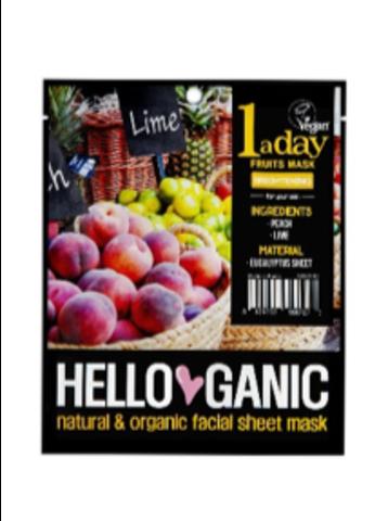 HELLO GANIC | Маска для сияния лица с экстрактами Персика и Лайма / One a day Fruit mask
