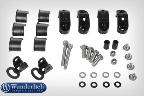 Комплект крепления оригинальных дополнительных фар на защитные дуги бака Wunderlich - черный