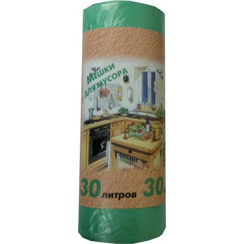 Мешки для мусора на 30 л зеленые (ПНД, 10 мкм, в рулоне 30 шт, 50х60 см)