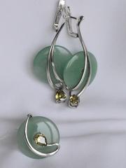 Цамби (кольцо + серьги из серебра)