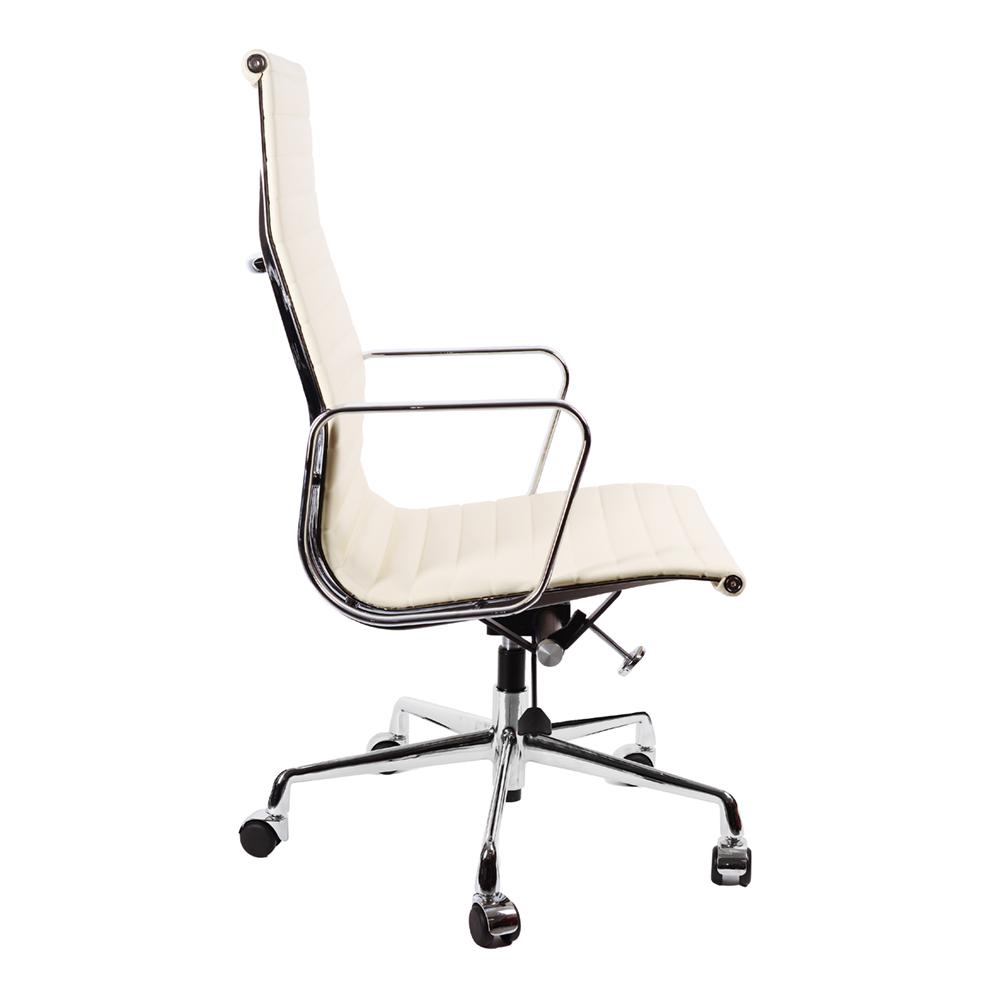 Кресло Eames Style HB Ribbed Office Chair EA 119 кремовая кожа - вид 3
