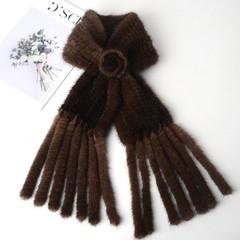 Копия Вязаный шарф-воротник норковый (меховой) коричневый