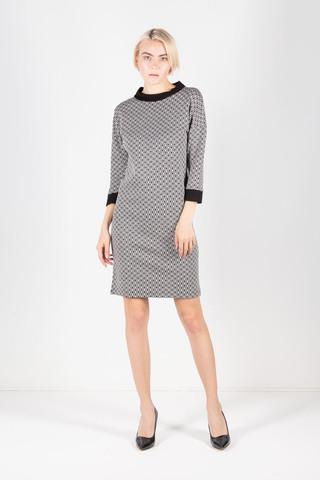 Фото серое платье с геометрическим принтом и контрастными вставками - Платье З228а-476 (1)
