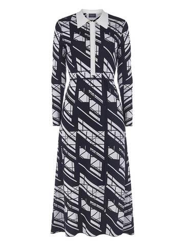 Женское платье А-силуэта черного цвета из шелка и вискозы - фото 1
