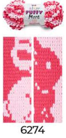 Купить Пряжа Пуффи Море цвет 6274 розовый-красный   Интернет-магазин пряжи «Пряха»