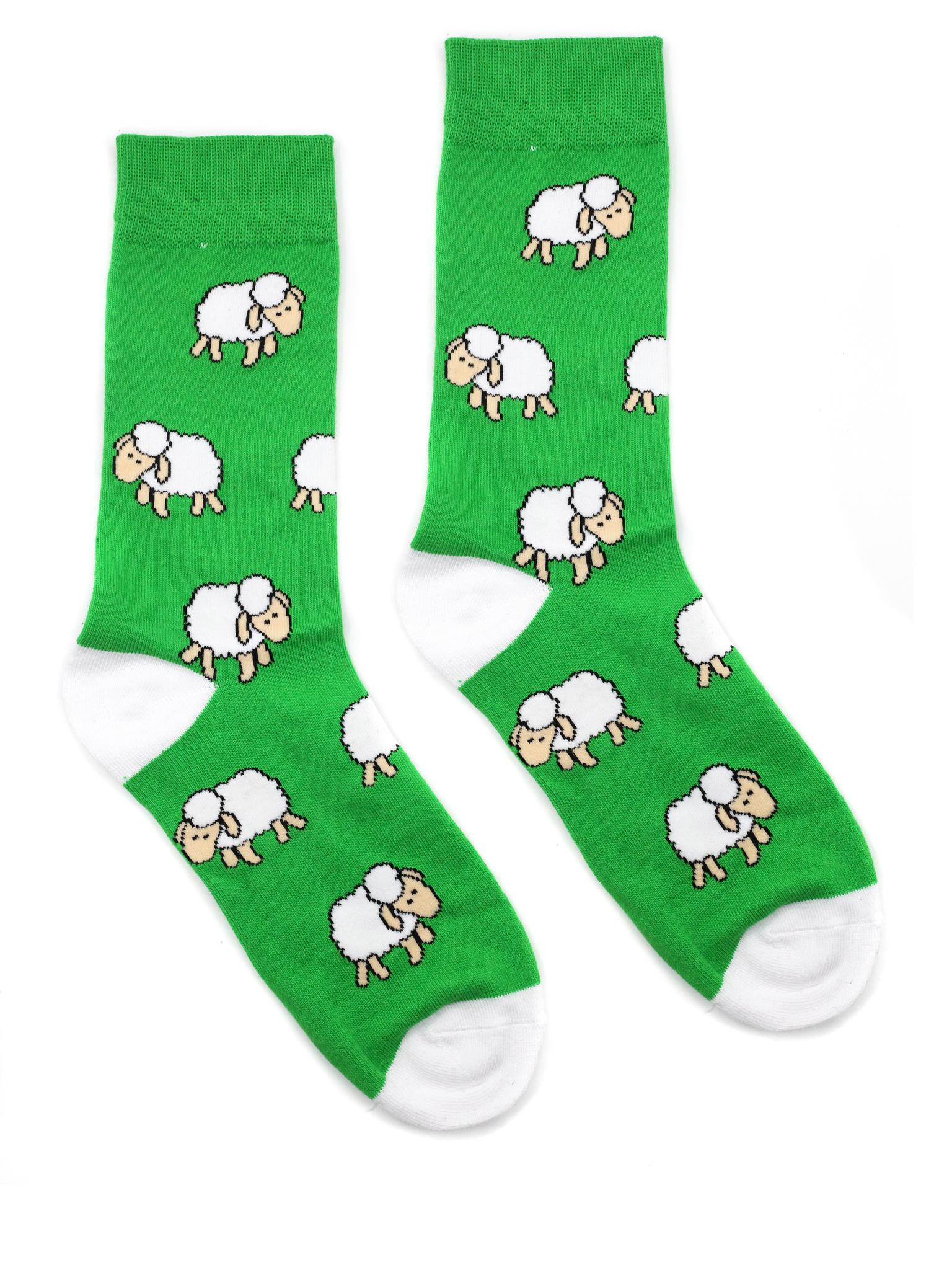 Носки р.40-45 Овечки на зелени