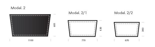 Схема с размерами кожаного бювара оригинальной модели номер 2.
