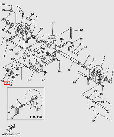 Ручка рычага наклона в сборе для лодочного мотора Т30 Sea-PRO (14-30)