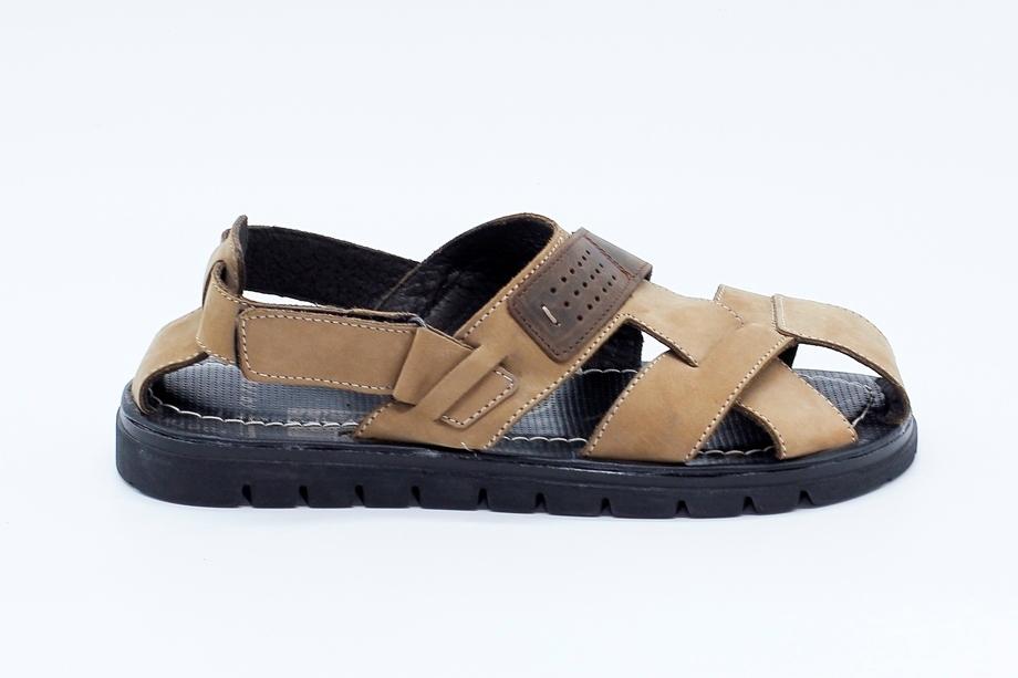 Бежевые сандалии  из натурального нубука