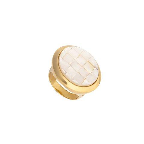 Кольцо mother pearl mosaic 17.2 K2853.1/17.2 BW/G