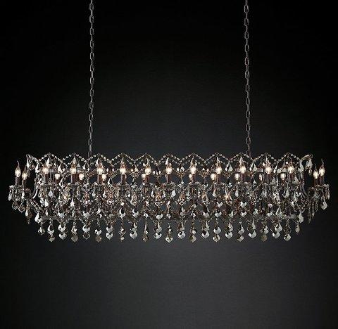 Подвесной светильник копия 19th C. Rococo Iron & Smoke Crystal Rectangular Chandelier 73