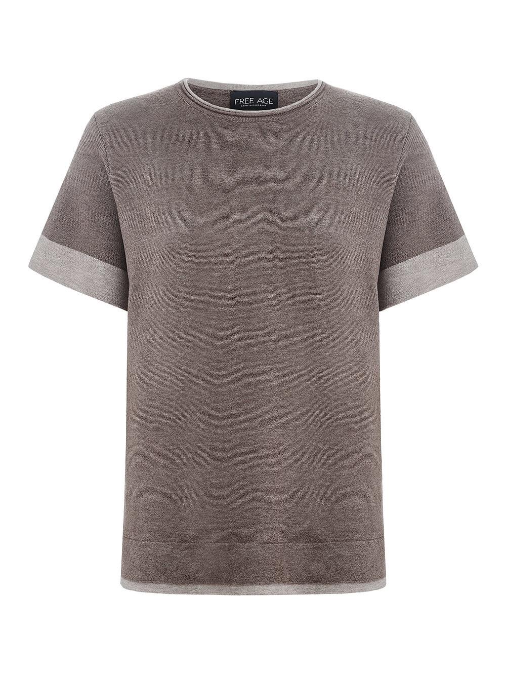 Женская футболка темно-кофейного цвета из вискозы - фото 1