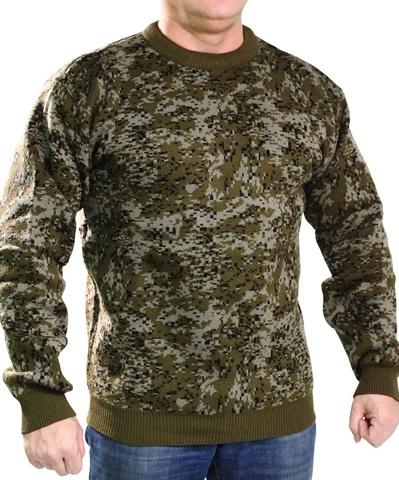 Джемпер свитер мужской (круглый вырез, зеленая Цифа)