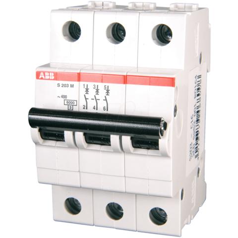 Автоматический выключатель 3-полюсный 50 А, тип C, 10 кА S203M C50UC. ABB. 2CDS273061R0504
