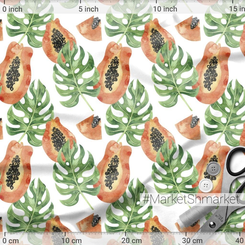 Тропические листья и папайя