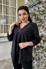 Люсия. Красивая нарядная женская блуза. Чёрный