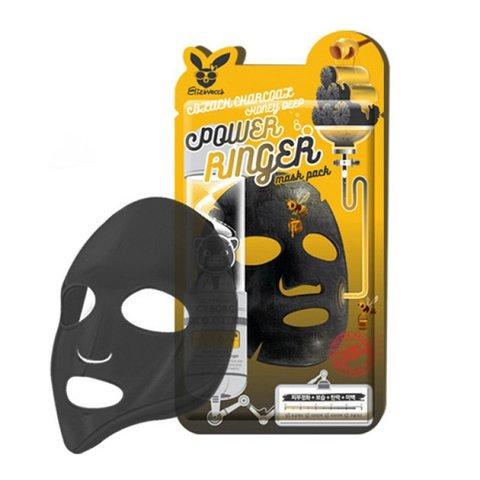 Elizavecca Тканевая маска для лица  ДРЕВЕСНЫЙ УГОЛЬ Elizavecca Black Charcoal Honey Deep Power Ringer Mask Pack,23 мл. 10шт.