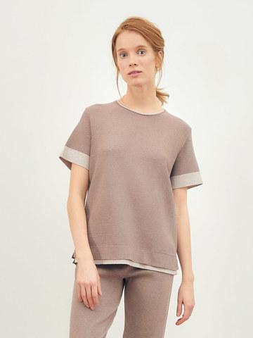 Женская футболка темно-кофейного цвета из вискозы - фото 2