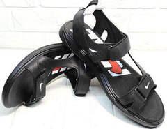 Черные кожаные босоножки сандали на липучке Nike 40-3 Leather Black.