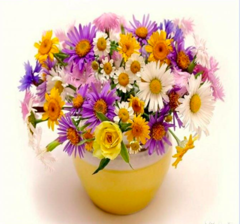 Алмазная Мозаика 20x30 Букет цветов в желтой вазе (арт. JS20476)