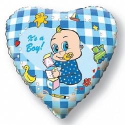 Фольгированный шар Новорожденный мальчик 18