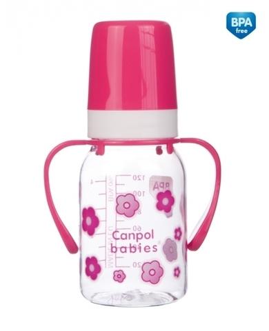 Бутылочка тритановая  (BPA 0%) (11/821) с ручками с сил. соской, 120 мл. 3+ (розовый)