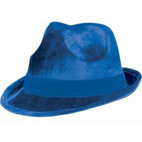 Шляпа-федора велюр синяя/A