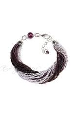 Бисерный браслет, 24 нити, черно-фиолетовый