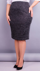 Пион ангора. Офисная юбка больших размеров. Графит.