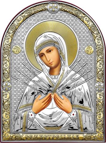 Серебряная икона Богоматерь Семистрельная