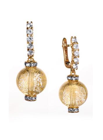 Серьги из муранского стекла со стразами Franchesca Ca'D'oro Medio Crystal Gold 004O