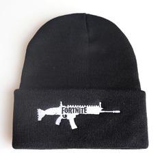 Вязаная шапка с отворотом и вышивкой Fortnite  (Фортнайт), черная 02