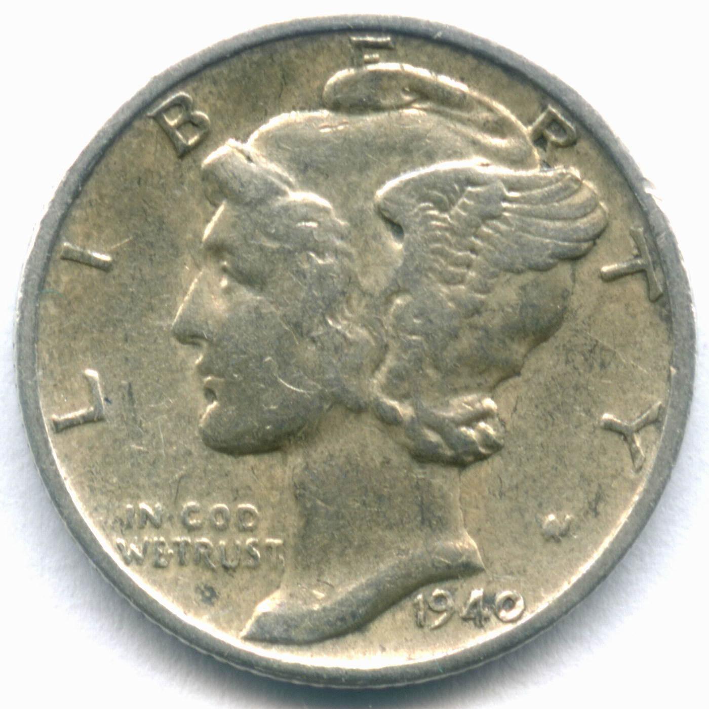 1 дайм (10 центов) 1940 (D). США VF (Меркурий) Серебро