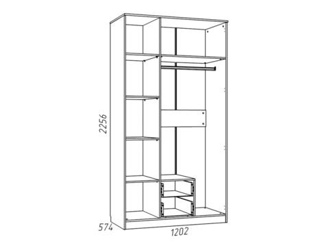 Шкаф комбинированный НМ 013.08-01 М «Фанк»