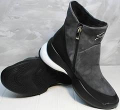 Женские зимние сникерсы с мехом Jina 7195 Leather Black-Gray