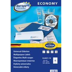 Этикетки самоклеящиеся Europe 100 белые 105x48 мм (12 штук на листе А4, 18 листов, артикул производителя ELA021-18)